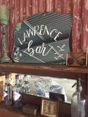 Bar sign set up for Lawrence wedding held at Bendooley Estate