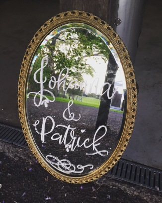 Mirror sign for Lawrence wedding